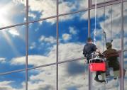 Glasreinigung, doppelte Seilsicherung, Sicherheit
